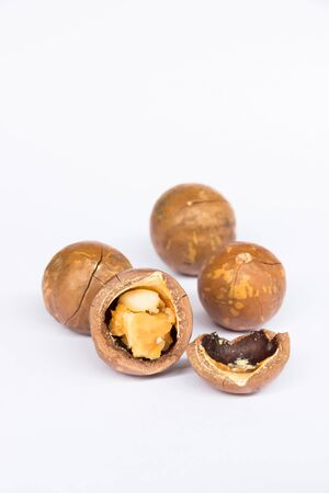 the macadamia shell split one seed of four Stock Photo - 16842843