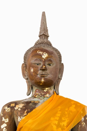 Face image of buddha statue at Wat Nearnpar Rayong Stock Photo