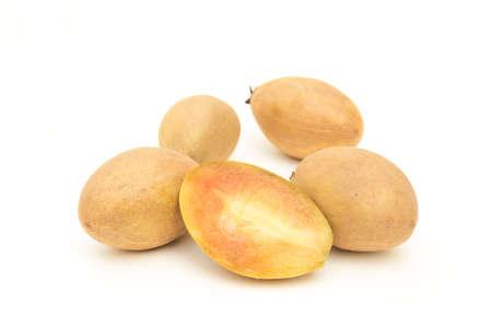 Tropical fruit - Chiku isolated on white background photo