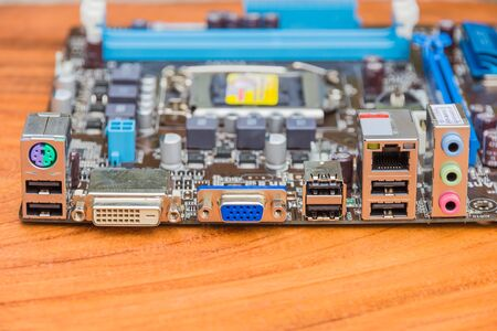 Computer Serial Port on a wooden table Stock Photo