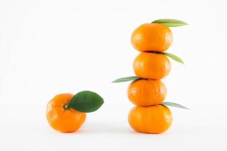 citrus reticulata: Mandarin orange, Citrus reticulata isolated on white background