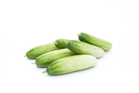 The green cucumbers isolated on white Stock Photo - 17921473