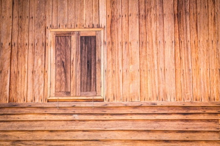 Wooden wall of ancient house with window closed in thai Stock Photo