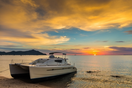 Sunset on a tropical island in thailand photo
