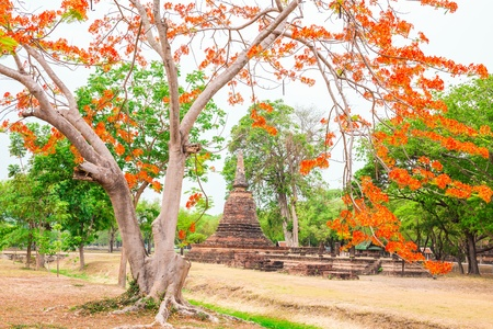 Wat Mahathat in Sukhothai Historical park, Thailand Stock Photo