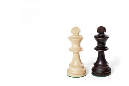 chess game. white and black king challenging for victory.  Stock Photo