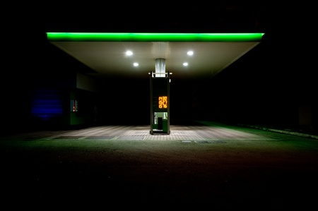 self service: gas station at night. Stock Photo