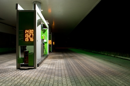 fossil fuel: gas station at night. Stock Photo