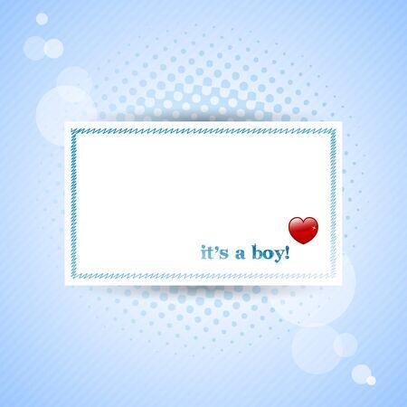"""""""Het is een jongen!"""" Baby kaart met blauwe achtergrond. Stockfoto"""