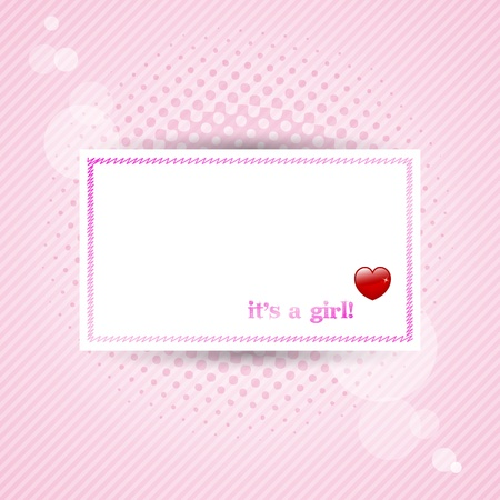 Its a girl! baby card with pink background. photo