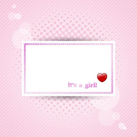 """""""Het is een meisje!"""" Baby kaart met roze achtergrond."""