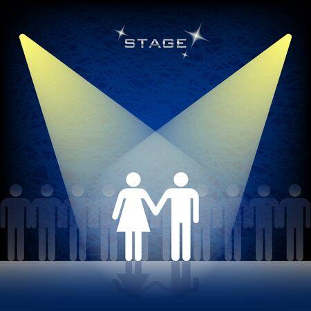 Twee mensen op het podium met verlichting. Stockfoto
