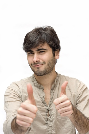 Happy casual man thumbs up over white background  Stock Photo - 17504682
