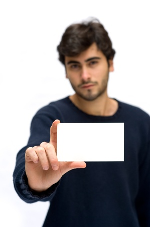 Man showing card isolated on white