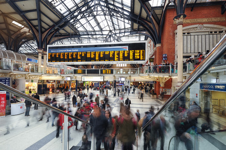 LONDON, UNITED KINGDOM - OCTOBER 20, 2013: Commuters inside Liverpool Street Station. The annual rail passenger usage between 2011 - 2012 was 13.835 million.