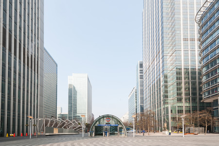 LONDON - APRIL 10, 2014: Entrance of Canary Wharf Station. It is the busiest station on the London Underground with over 40 million passengers each year.