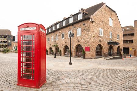 Classic red British telephone box in London    Stock Photo