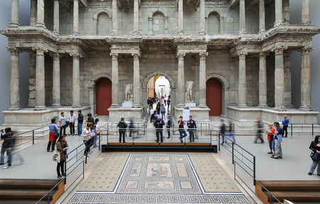 Tourists inside the Pergamon Museum in Germany   Editorial