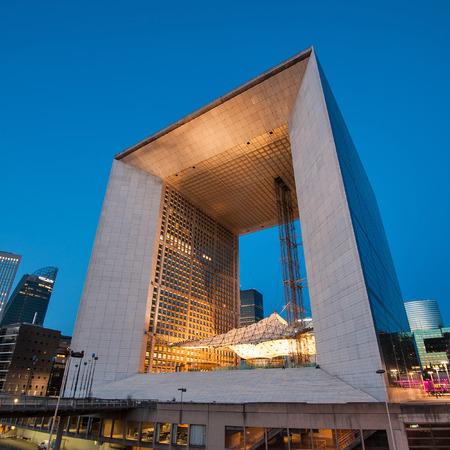approximate: PARIS, FRANCE - MAY 18, 2014  Night view of La Grande Arche  The Arche is in the approximate shape of a cube  110mt  and was inaugurated in July 1989, for the bicentennial of the French revolution