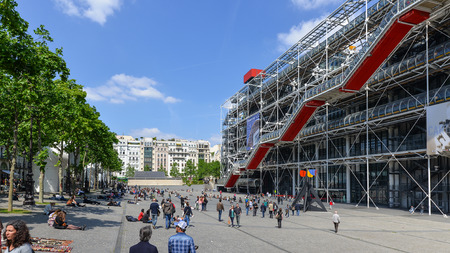 PARIS, FRANCE - MAY 16, 2014  Tourists walking in front of the Centre Georges Pompidou