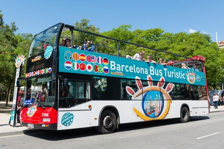 BARCELONA, SPAIN - JUNE 1, 2014  Touristic bus in front of Sagrada Familia   Editorial