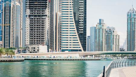 Panoramic view of Dubai Marina.  Dubai Marina is an artificial 3 km canal carved along the Persian Gulf shoreline