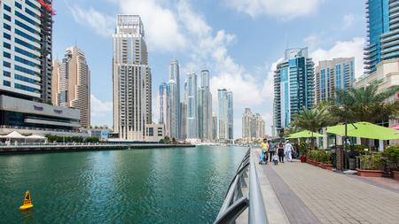 DUBAI, UAE - MARCH 27, 2014  The Walk of Dubai Marina  Dubai Marina is an artificial 3 km canal carved along the Persian Gulf shoreline   Redactioneel