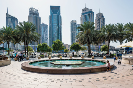 DUBAI, UAE - MARCH 27, 2014  A skyline panoramic view of Dubai Marina and Cayan Tower  known also as Infinity Tower