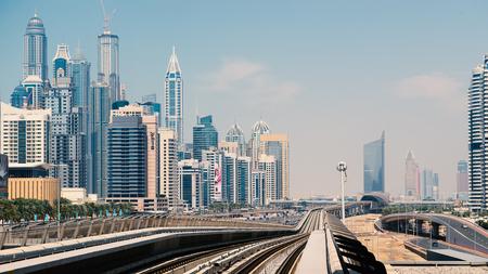 DUBAI, UAE - MARCH 28, 2014  Jumeirah Lakes Tower metro station