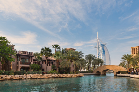DUBAI, UAE - MARCH 29, 2014: View of the Souk Madinat Jumeirah. Madinat Jumeirah encompasses two hotels and clusters of 29 traditional Arabic houses.