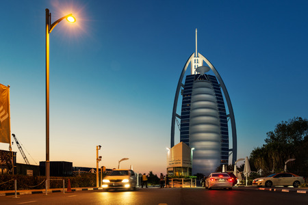 DUBAI, UAE - MARCH 29, 2014: Burj Al Arab luxury Hotel entrance. It is The worlds only 7 star Hotel since 1999. At 321 m (1,053 ft), it is the fourth tallest hotel in the world.