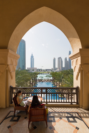 DUBAI, UAE - MARCH 30, 2014 Palace Hotel view from the terrace. The Palace Downtown Dubai Hotel features 242 guest rooms, including 81 lavish suites.