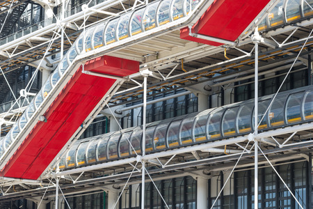 georges: PARIS, FRANCE - MAY 16, 2014: Escalators of the Centre Georges Pompidou. The structure was completed in 1977 and is one of most recognizable landmarks in Paris.