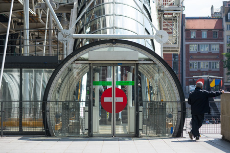 PARIS, FRANCE - MAY 16, 2014: Security exit of the Centre Georges Pompidou. The structure was completed in 1977 and is one of most recognizable landmarks in Paris. Éditoriale