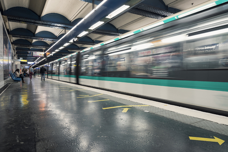 PARIS, FRANCE - MAY 16, 2014: Strasbourg Saint-Denis Metro Station. The Paris Metro is a rapid transit system in the Metropolitan Area. It is mostly underground (214 kilometres) and has 303 stations.  Éditoriale