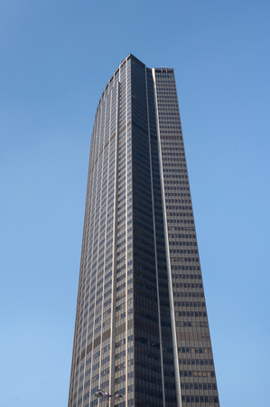 PARIS, FRANCE - MAY 17, 2014: Maine-Montparnasse Tower (Tour Montparnasse) view. It is a 210-metre (689 ft) office skyscraper located in the Montparnasse area, constructed from 1969 to 1973.