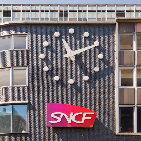 PARIS, FRANCE - MAY 17, 2014: SNCF building. SNCF is the national French railroad company. As of 2010 SNCF is rank 22 in France and 214 globally on the Fortune Global 500.