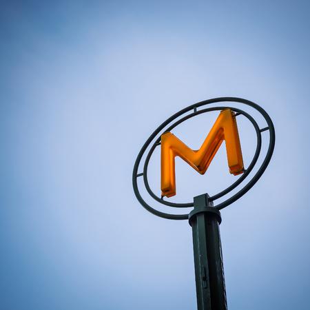 Metro Sign in Paris, France.