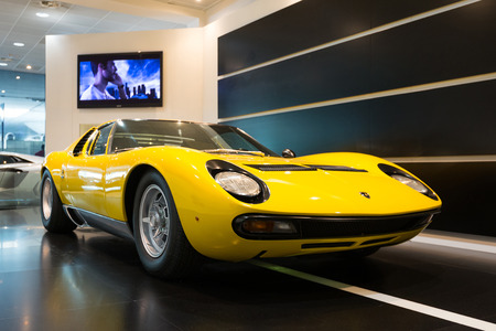 BOLOGNA, ITALY - MAY 20, 2014: Lamborghini Sports car exibition at Bologna Airport. The Miura model was produced by Italian automaker Lamborghini between 1966 and 1973.