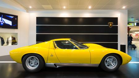 BOLOGNA, ITALY - MAY 20, 2014: Lamborghini Sports car exibition at Bologna Airport. The Miura model was produced by Italian automaker Lamborghini between 1966 and 1973. Editorial