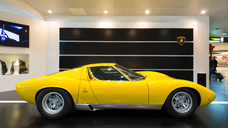 BOLOGNA, ITALY - MAY 20, 2014: Lamborghini Sports car exibition at Bologna Airport. The Miura model was produced by Italian automaker Lamborghini between 1966 and 1973. Éditoriale