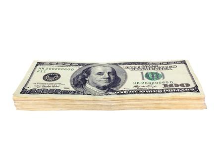 Hundred dollar denominations isolated on white  photo