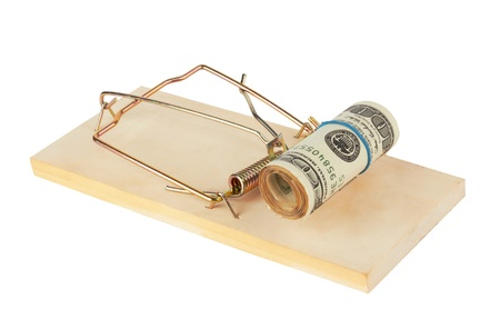 greenbacks: Mousetrap is isolated over a white  background  Stock Photo