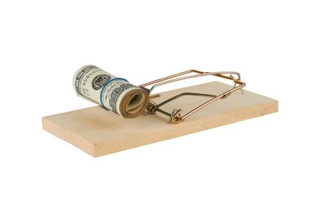 perdidas y ganancias: Trampa para ratones est� aislado sobre un fondo blanco Foto de archivo