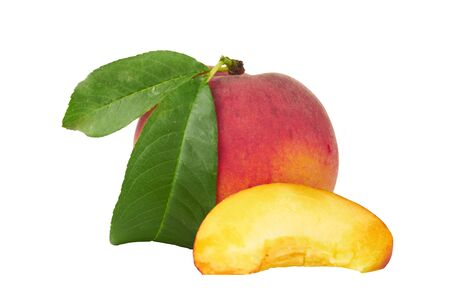 yellows: Ripe Peach with Leaf isolated