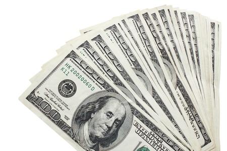 cash american dollars isolated on a white background