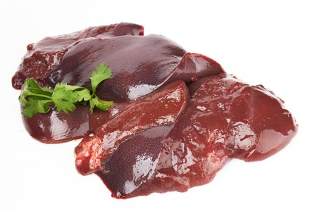 offal: fresh and raw liver on white background