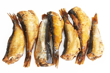 Smoked sprats in oil on white background  photo