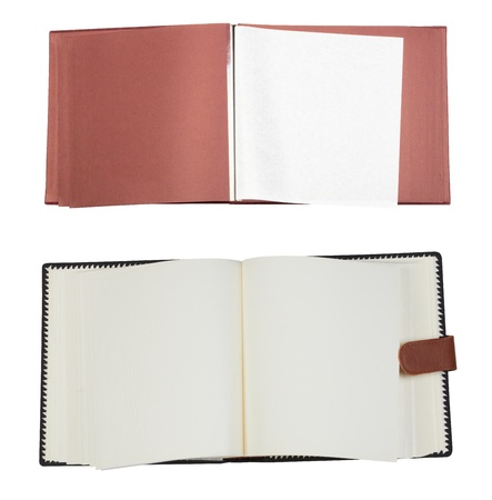 Opened empty photo album isolated on a white photo
