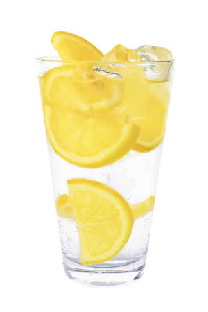 sparkling mineral water with ice and lemon  photo
